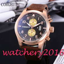 Luxury 46mm Corgeut black dial rose golden plated bezel Date adjust Brown strap Newest quartz Mechancial