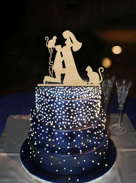d0f066c2be0 € 13.51 |Moderna torta embarazada novia y novio con 2 Gatos, apellido  personalizado silueta cake toppers, decoración de la boda regalo en  Productos ...