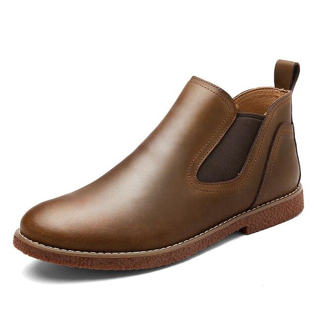 2017 НОВЫЙ стиль популярные Челси сапоги Высокое качество натуральная кожа мужчины обувь fishion Ботильоны Из Натуральной Кожи Челси обувь