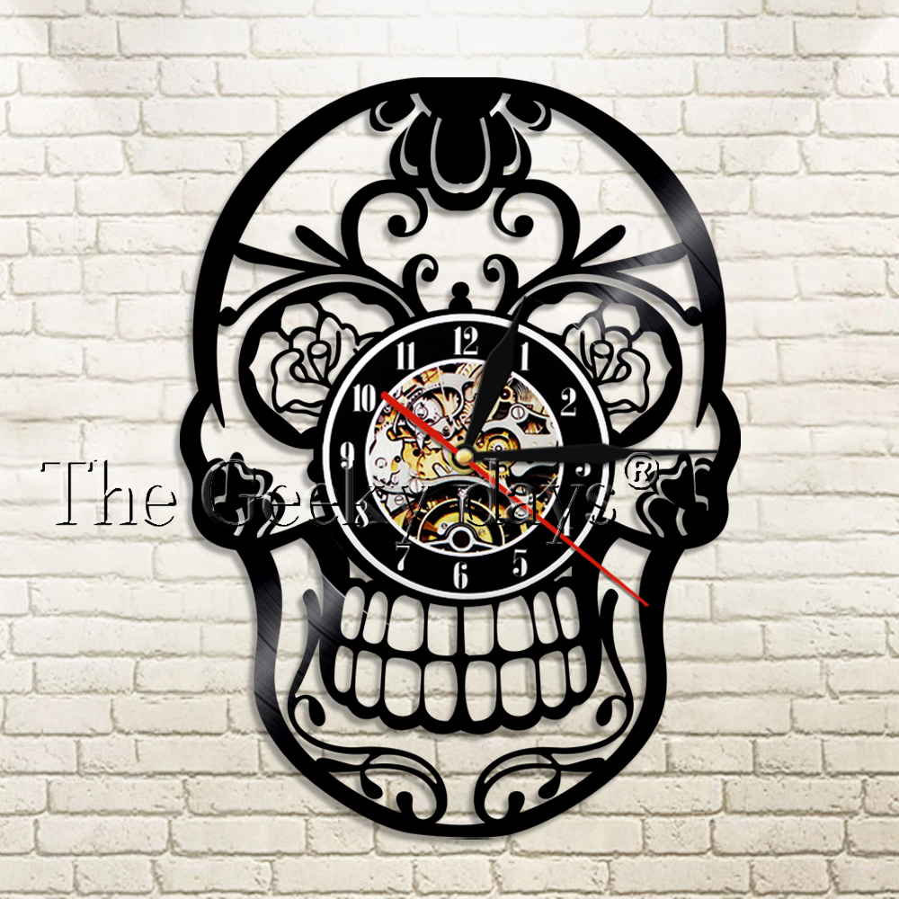1Piece The Day Of Dead Dia De Los Muerte Mexican Hippie Skull Wall Clock Home Decor Wall Watch Modern Design For Halloween Gift