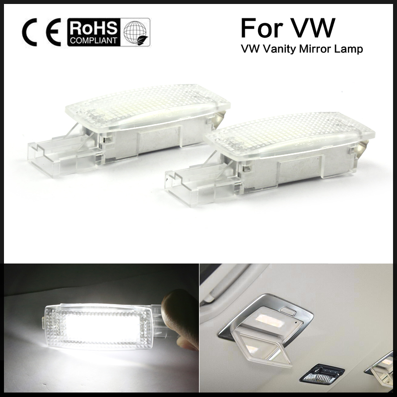 2x Error Free LED SMD vanity mirror visor light For VW Golf PASSAT TIGUAN JETTA SCIROCCO ...