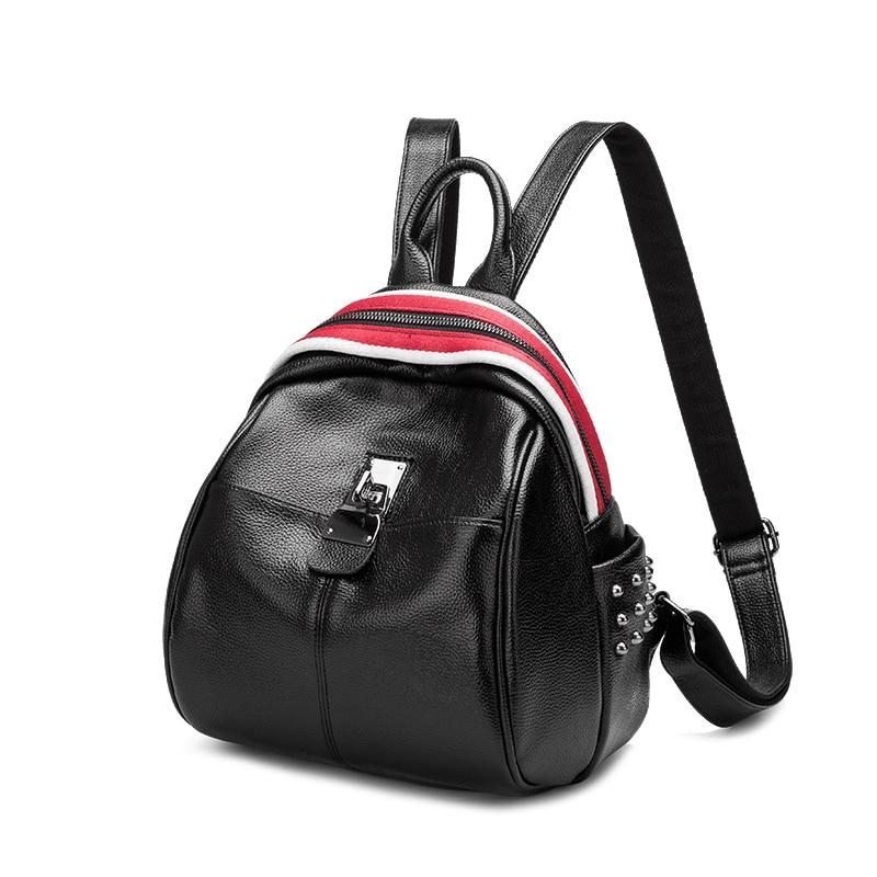 Women Backpack Genuine Leather New Ladies Small Travel Backpack Brand Girls School Bag Trendy Rivet Female Daily Shopping Bag цена