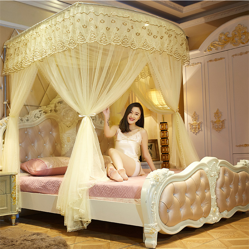 Byetee Lace Three Door Bed Canopy With Stainless Steel