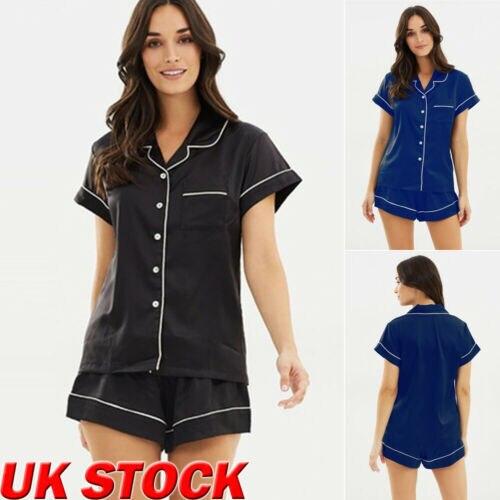 Women Satin Plain Sleepwear Babydoll Lingerie Nightwear Shorts Pjs Pyjamas   Set