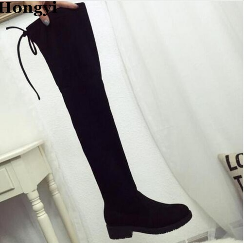 цены Hongyi Fashion Black PU Leather Thigh High Boots Autumn And Winter Back Lace Up Stretch Over The Knee Botas Women Flat Boot