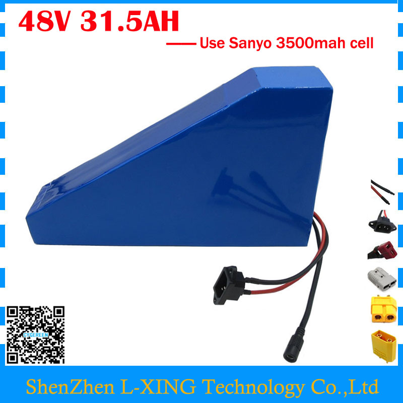 Free customs duty 48V 31.5AH Electric bike battery 48V 31.5AH triangle battery with bag use NCR18650GA 3500mah cell 50A BMS us eu free customs duty lithium 48v 1000w e bike battery 48v 17ah for original panasonic 18650 cell with 5a charger 30a bms