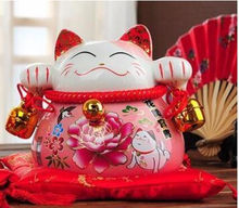 YM ceramic maneki neko piggy bank home decor crafts room decoration ceramic kawaii ornament porcelain figurines cat(China)