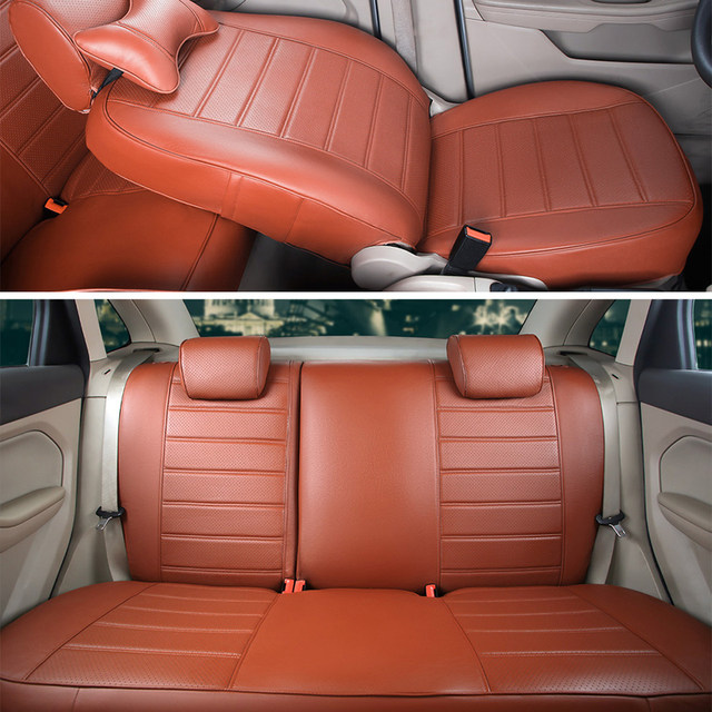 CARTAILOR Front Rear Car Seat Protector Custom Fit For Fiat Punto Cover Set PU Leather Lumbar Support Cushion Covers
