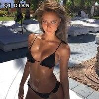 QI DIAN Solid Strappy Bandage Bikinis Set Push Up Bikini Swimwear Bandeau Brazilian Swimsuit Bathing Suit