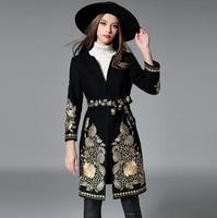 2017 Mùa Thu Mùa Đông Women Wool Coat Ladies thời trang Áo Len Áo Dòng Vàng Thêu hoa Áo Khoác Nữ Outwear S1164