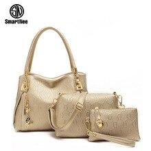 Smartnee 3 Unids/set Vintage Bolsos Mujeres Messenger Bags Mujer Bolso Bolsas de Hombro Sólido Oficina de Señora Casual Nueva Top-mango