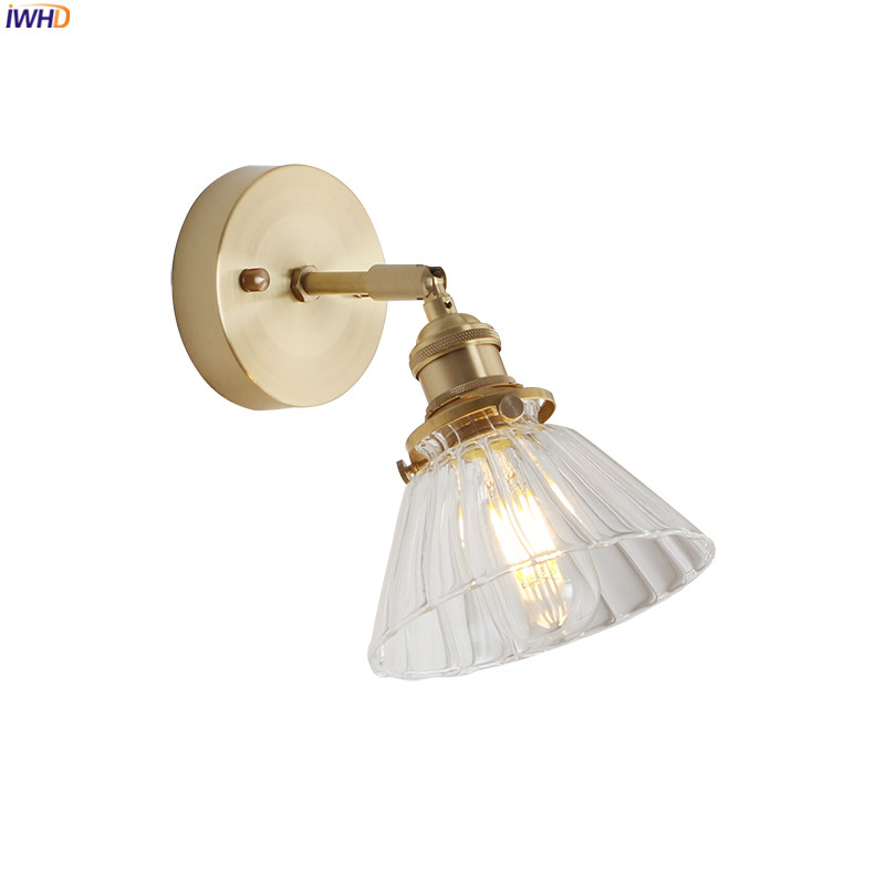 IWHD Nordic Copper Wall Lamp Vintage Bedroom Beside Glass ...