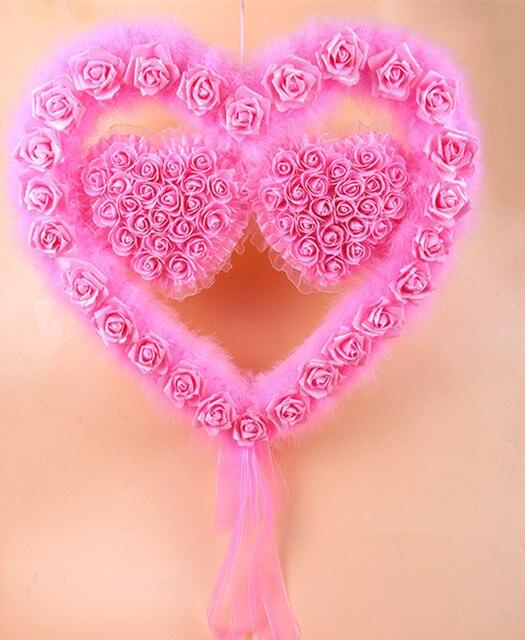 Foam Rose Heart Door Wreath Lace Ribbon Plush Wedding Car Decoration Pink Room Decor Purple Double  sc 1 st  AliExpress.com & Foam Rose Heart Door Wreath Lace Ribbon Plush Wedding Car ...