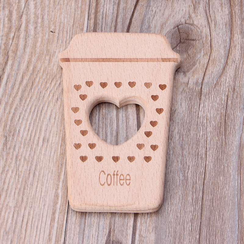 2018 Baby Teethers Cute Coffee Pendant Necklace Accessory Beech Wood Chew Toys AUG8_32