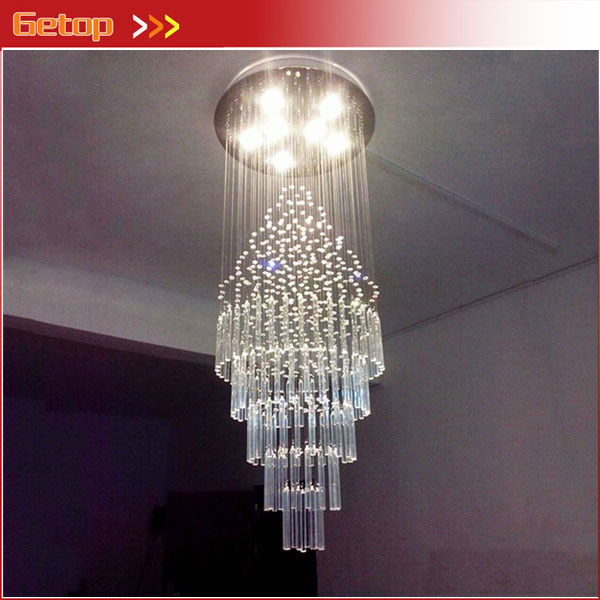 Best Duplex Staircase Rotating Long K9 Crystal Chandeliers Modern Luxury Living Room Villa Hall Lobby