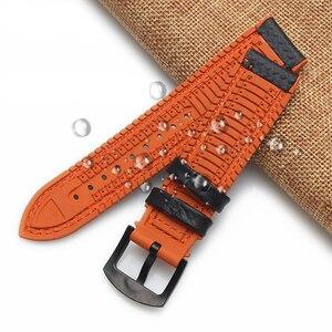 Image 4 - Bracelet de montre en Fiber de carbone Bracelet de montre 18mm 20mm 22mm 24mm pour Bracelet de montre en caoutchouc Omega, accessoire étanche