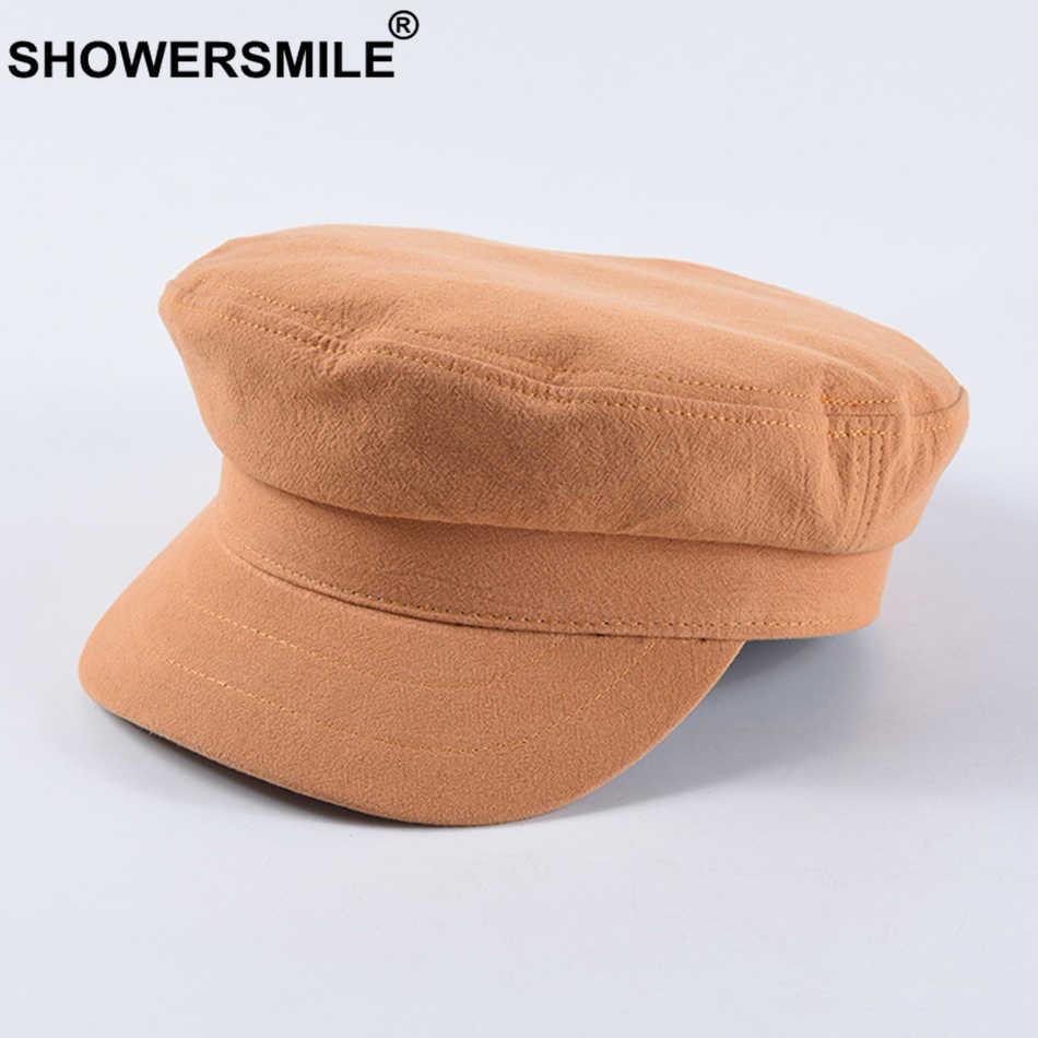 SHOWERSMILE قبعة عسكرية النساء 100% القطن الكابتن قبعة الجيش الأخضر الصلبة الإناث عادية البريطانية السيدات ربيع الخريف قبعة مسطحة 2019