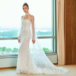Image 2 - Dressv Elegant Mermaid Wedding Dress Strapless Watteau Trein Applicaties Kant Floor Lengte Bridal Outdoor & Kerk Trouwjurken
