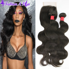 Rosa Hair Products Brazilian Virgin Hair With Closure King Sexy Formula 7A Human Hair Brazilian Body Wave 4 Bundles With Closure
