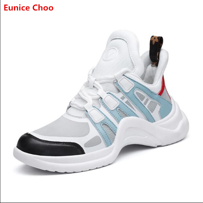 2018 New Lace Up Mesh Trainers Woman Leather Casual Shoes Patchwork Platforms Runway Shoes Archlight Sneakers lace up mesh babydoll