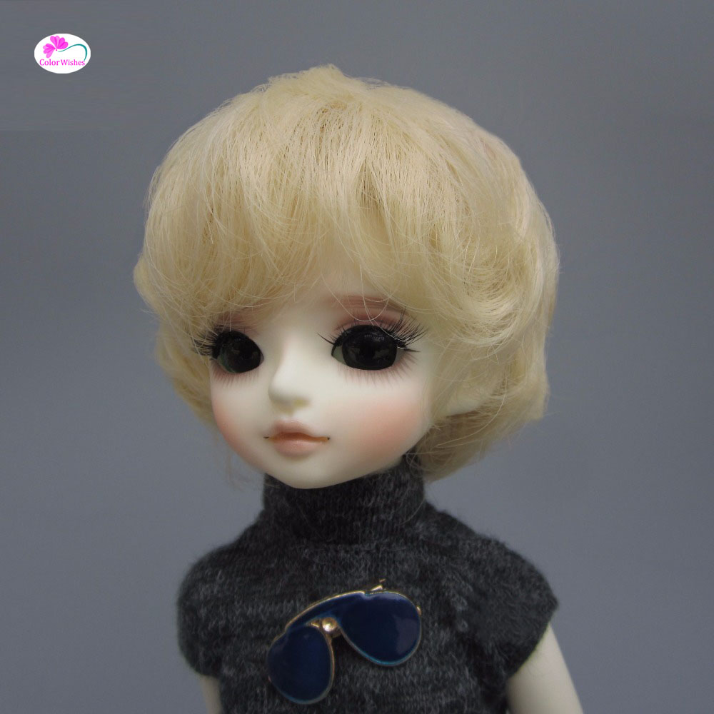 Fashion light gold short curly dolls hair for 1/3 1/4 1/6 BJD/SD doll wigs Accessories 1 8 bjd sd doll wigs for lati dolls 15cm high temperature wire long curly synthetic hair for dolls accessorries high quality wig