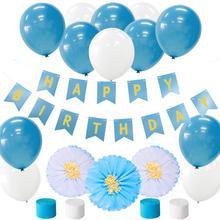 цена на 26pcs Party Decorations for Birthday Blue White Happy Birthday Garland Paper Pom pom Flowers Baby Shower Supplies Decorations