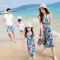 Family Matching Outfit Family Clothing Mother and Daughter Tank Bohemian Dress Father and Son Clothes Set Beach Clothing GS14