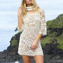 fdaaf06996a94 Hollow Knit Transparent Beach Dress Loose Beach Cover Up Long Sleeve  Women's Tunic Beachwear Cover-Ups Summer Tops for Women