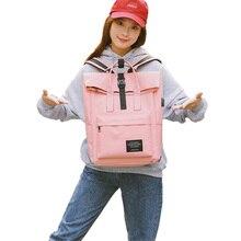 Women School Bags Backpack External USB Charge Canvas Female Mochila Escolar Girls Laptop Pink