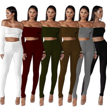 2 piece set summer 2018 Women Exercise Suit off shoulder ensemble femme two top and pants matching sets