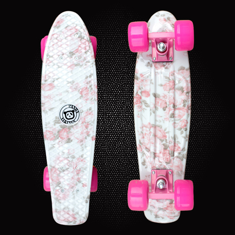 Hot sale flowers printed 22 skateboard complete skateboarding mini hot sale flowers printed 22 skateboard complete skateboarding mini longboard boy girl cruiser skate board 4 wheel skates pd04 in skate board from sports voltagebd Image collections
