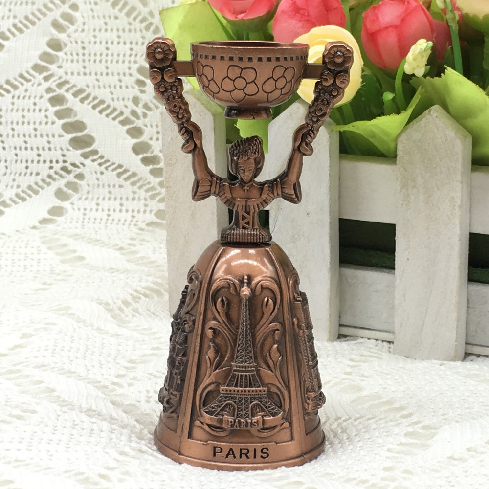Antique Copper France Style Lady Design Dinner Party Wedding Shop Hotel School Reception Hand Bell With Candle Holder
