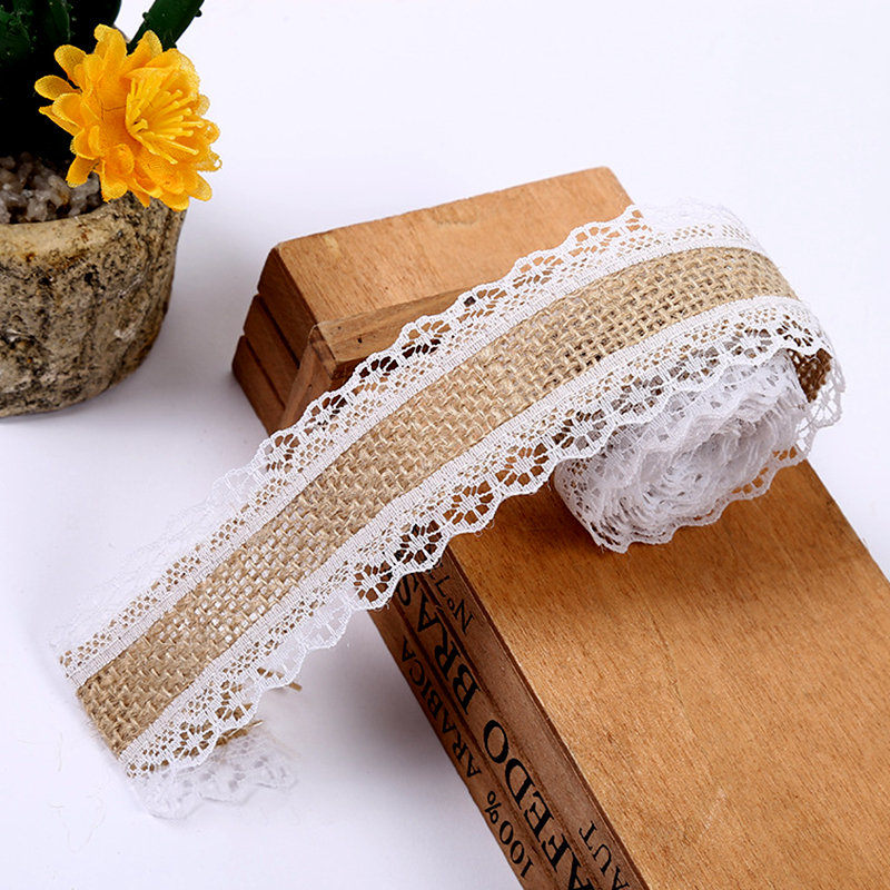2M Burlap Ribbon Jute Wedding Decoration Rustic Wedding Centerpieces Rustic Natural Jute Ribbon Burlap Jute Lace Christmas