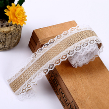 2M Burlap Ribbon Jute Wedding Decoration Rustic Centerpieces Natural Lace Christmas