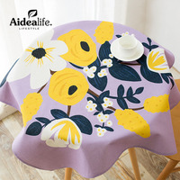 High Quality Textile Products Waterproof Anti oil rosette purple coffee table cloths for home party table cover round