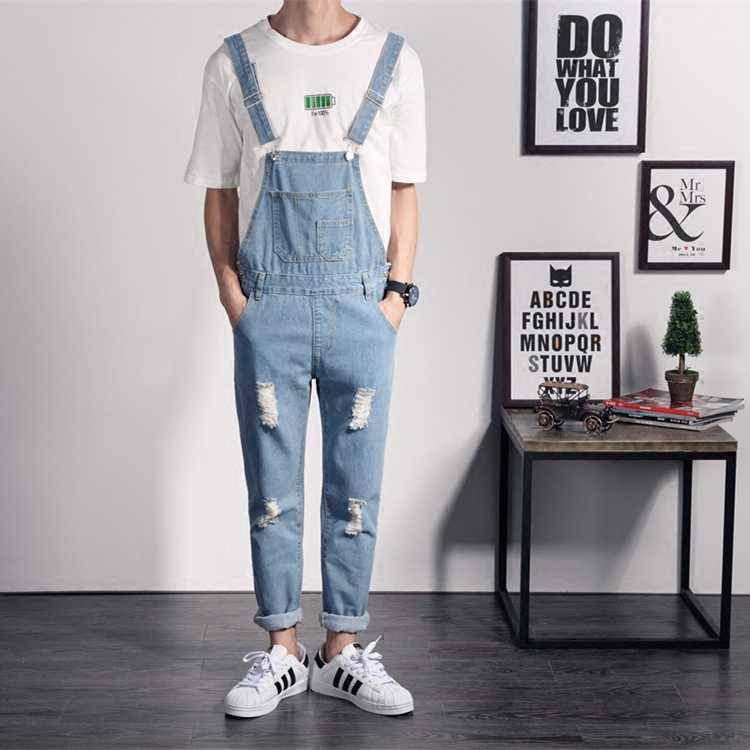 2019 New Men's Bib Overall Casual Blue Jean Jumpsuit for Men One Piece Romper Denim Jumpsuit Men Hip Hop Ripped Suspender Jeans