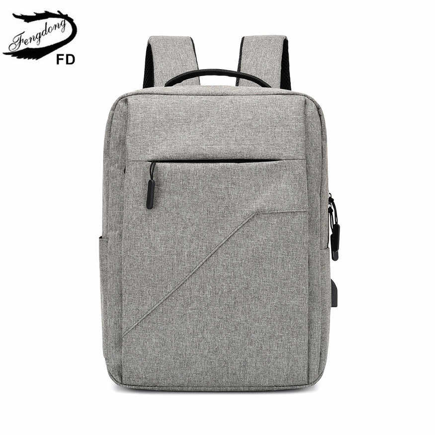 FengDong high school bags for boys teenagers big school backpack for boy college student waterproof travel laptop backpack 15.6