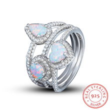 SOXY 100% Real Pure 925 Sterling Silver Opal Ring Three Layers Rings White Fire Opal 925 Sliver Ring Gothic Women Jewelry