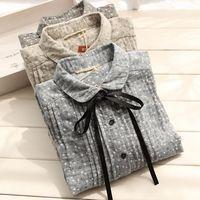 rustic floral print vintage turn down collar cotton long sleeve shirt long blouse