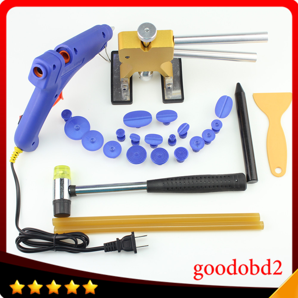 PDR Paintless Dent Repair hand Tools set Dent Removal with 18X Puller Tabs Gold Lifter Rubber