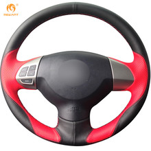MEWANT Black Red Leather Car Steering Wheel Cover for Mitsubishi Lancer EX Outlander ASX Colt Pajero Sport