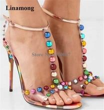Women Charming T-strap PVC Mixed-colors Beaded Rhinestone Stiletto Heel Sandals Crystal Studded Transparent High Heel Sandals girls dressy flower t strap rhinestone high heel sandals