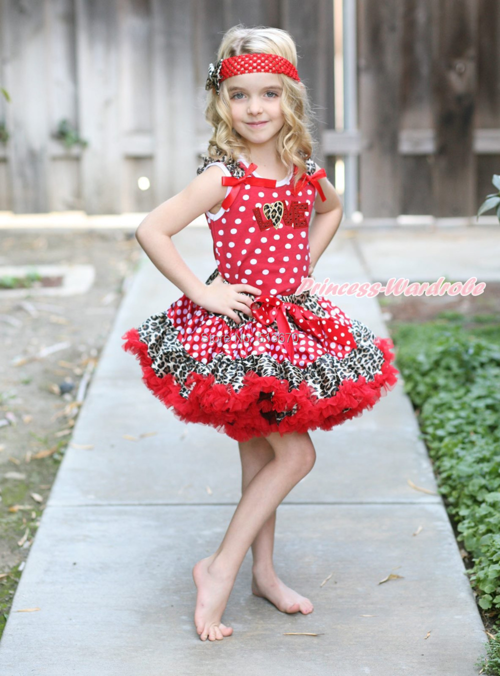 Valentine's Day Red Sparkle Love Heart Top Minnie Leopard Pettiskirt Outfit 1-8Y MAPSA0353 xmas leopard minnie dots red pettiskirt with christmas minnie print white long sleeve top with minnie dots lacing mamw413