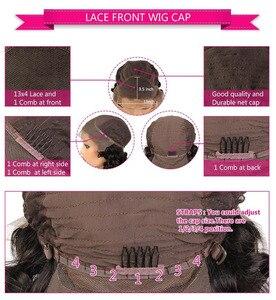 Image 4 - 카리나 브라질 레이스 프론트 인간의 머리 가발 pre plucked ombre 1b/33 레미 헤어 웨이브 하이라이트 및 로우 라이트
