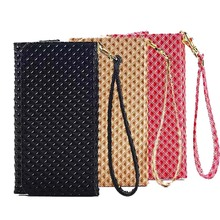 Grid Grain Handbag Wallet Bag Case For Apple iPhone 6 6S 7 Plus 5.5 Inch Universal Leather Strip Wrist Phone Pouch Cases