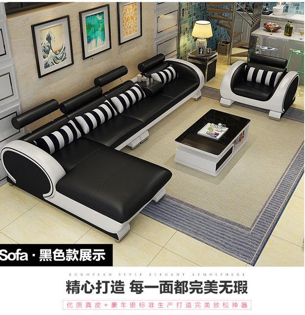 Living Room Sofa set furniture real genuine leather sofas salon couch puff asiento muebles de sala canapé L sofa cama headrest