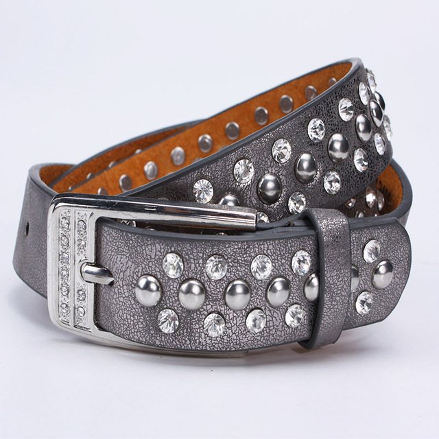 2015 rivet studded strap belts for women decorate women jeans rivets decoration bottom pu leather belt with pin buckle