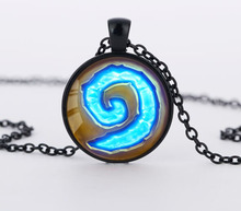 WoW World of Warcraft Hearthstone Glass Round Pendant Charm Necklace Jewelry Chain Blue PendantS men Jewelry women gift CN449