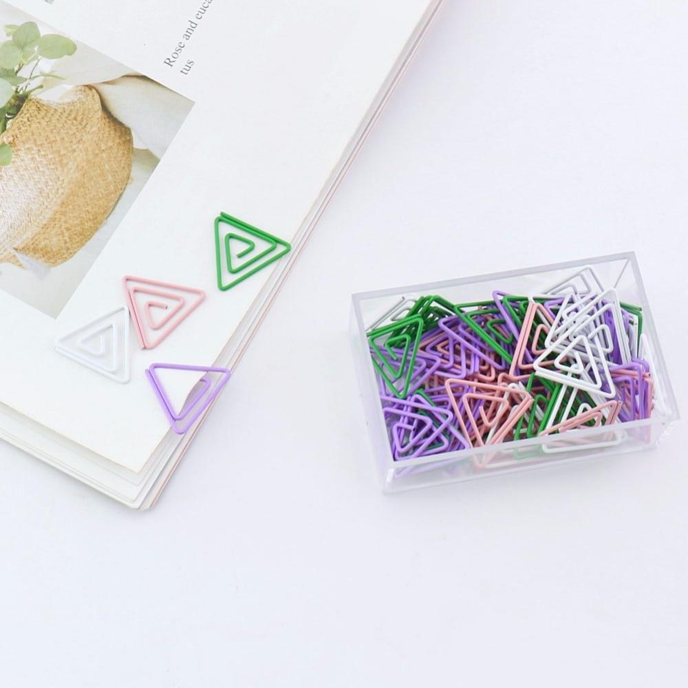 TUTU 60/box Triangle Metal Paper Clip Bookmark Stationery School Office Supply Escolar Papelaria H0212
