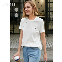 Amii Minimalist Women Short Sleeve T Shirts Summer 2019 Causal Diamond Solid O Neck 100% Cotton Female Top Tees